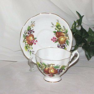QUEEN ANNE FOOTED CUP & SAUCER FRUIT & BERRIES